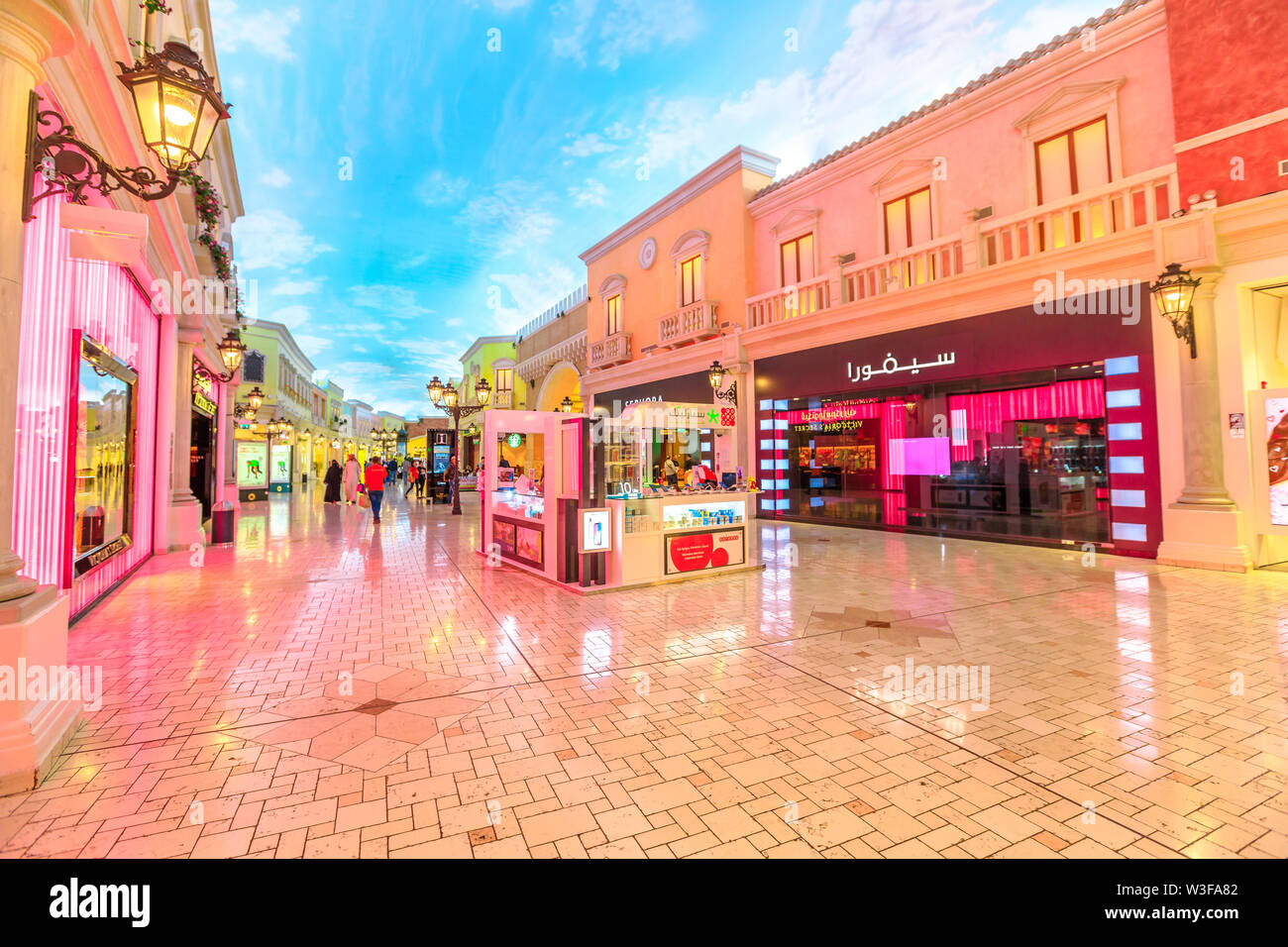 Doha, Qatar - February 21, 2019: inside Villaggio Mall, a shopping center in Aspire Zone between Hyatt Plaza and Sports City. Luxury brands, expensive - Stock Image