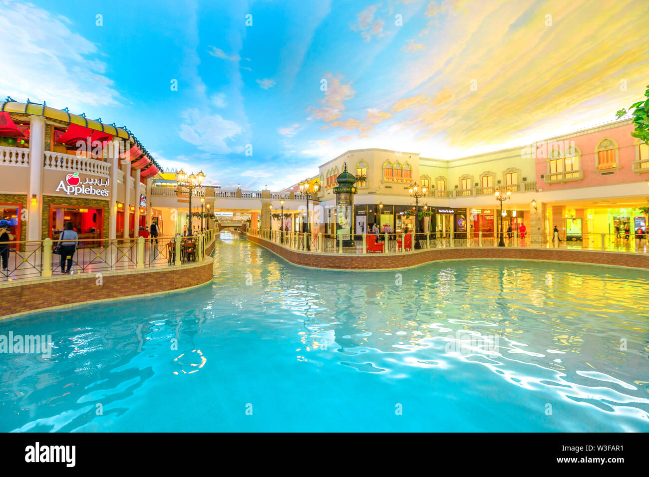 Doha, Qatar - February 21, 2019: venice lagoon in Villaggio Mall, a shopping center in Aspire Zone. Luxury brands, expensive stores and exclusive shop - Stock Image