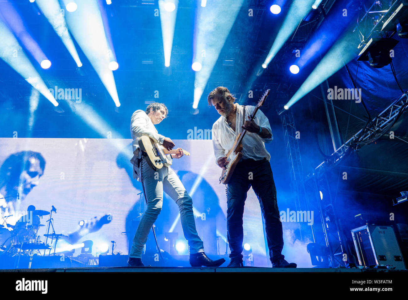 Bergen, Norway - June 13th, 2019. The Norwegian rock Madrugada performs a live concert during the Norwegian music festival Bergenfest 2019 in Bergen. Here guitarists Christer Knutsen (L) and Cato Thomassen (R) are seen live on stage. (Photo credit: Gonzales Photo - Jarle H. Moe). - Stock Image