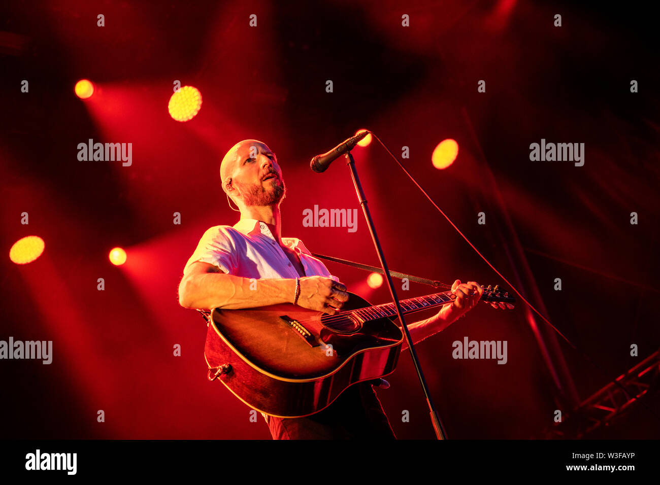 Bergen, Norway - June 13th, 2019. The Norwegian rock Madrugada performs a live concert during the Norwegian music festival Bergenfest 2019 in Bergen. Here singer and songwriter Sivert Høyem is seen live on stage. (Photo credit: Gonzales Photo - Jarle H. Moe). - Stock Image