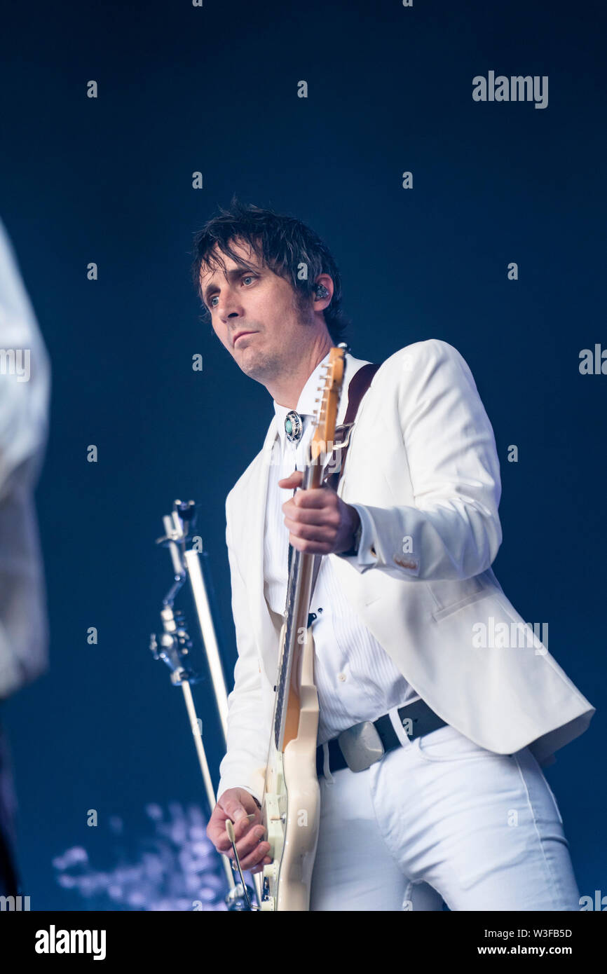 Bergen, Norway - June 13th, 2019. The Norwegian rock Madrugada performs a live concert during the Norwegian music festival Bergenfest 2019 in Bergen. Here guitarist Christer Knutsen is seen live on stage. (Photo credit: Gonzales Photo - Jarle H. Moe). - Stock Image