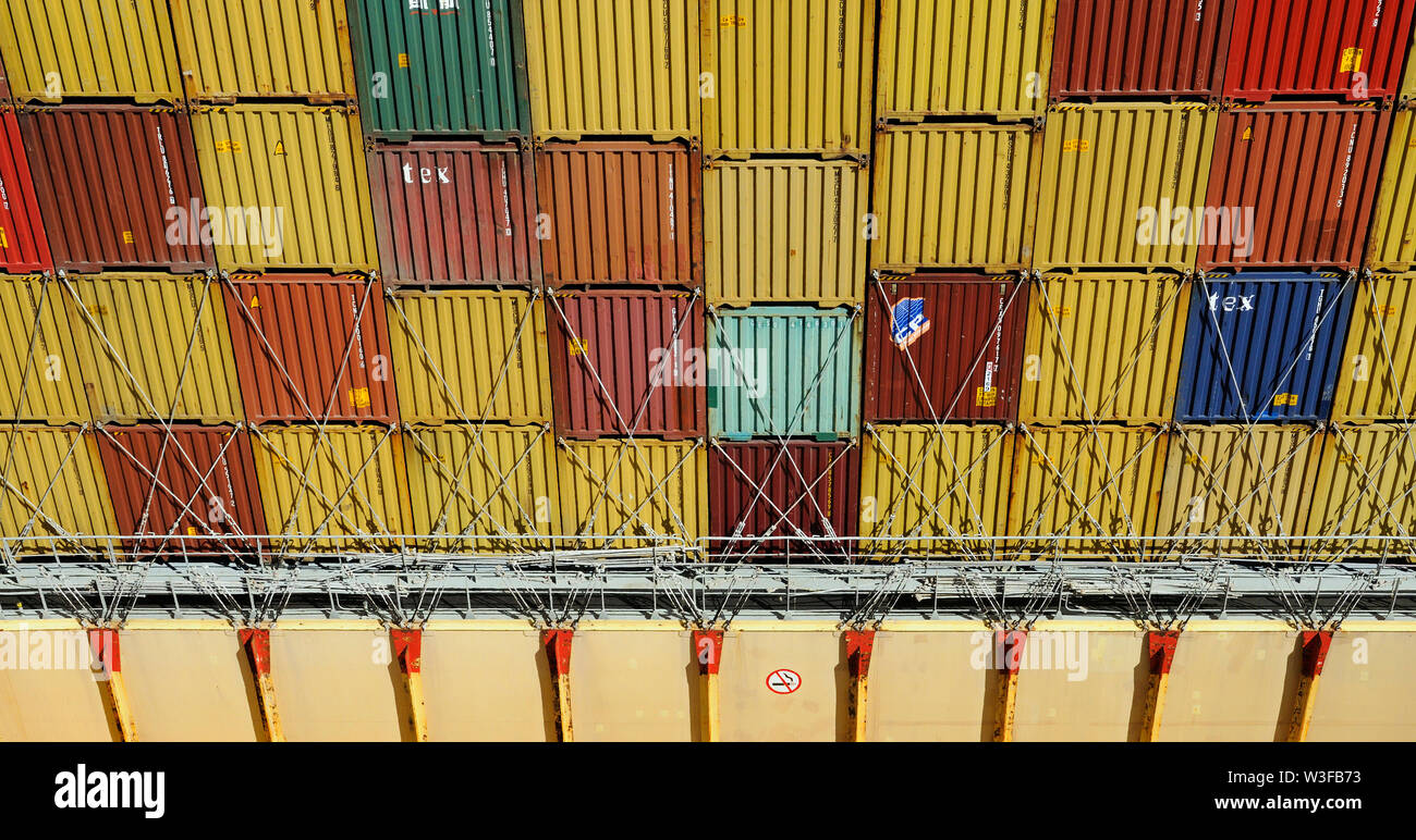 sea of marmara, turkey - june 29, 2012: view onto deck stowed containers and into a cargo hold of containership msc cordoba  (imo 9349801) - Stock Image