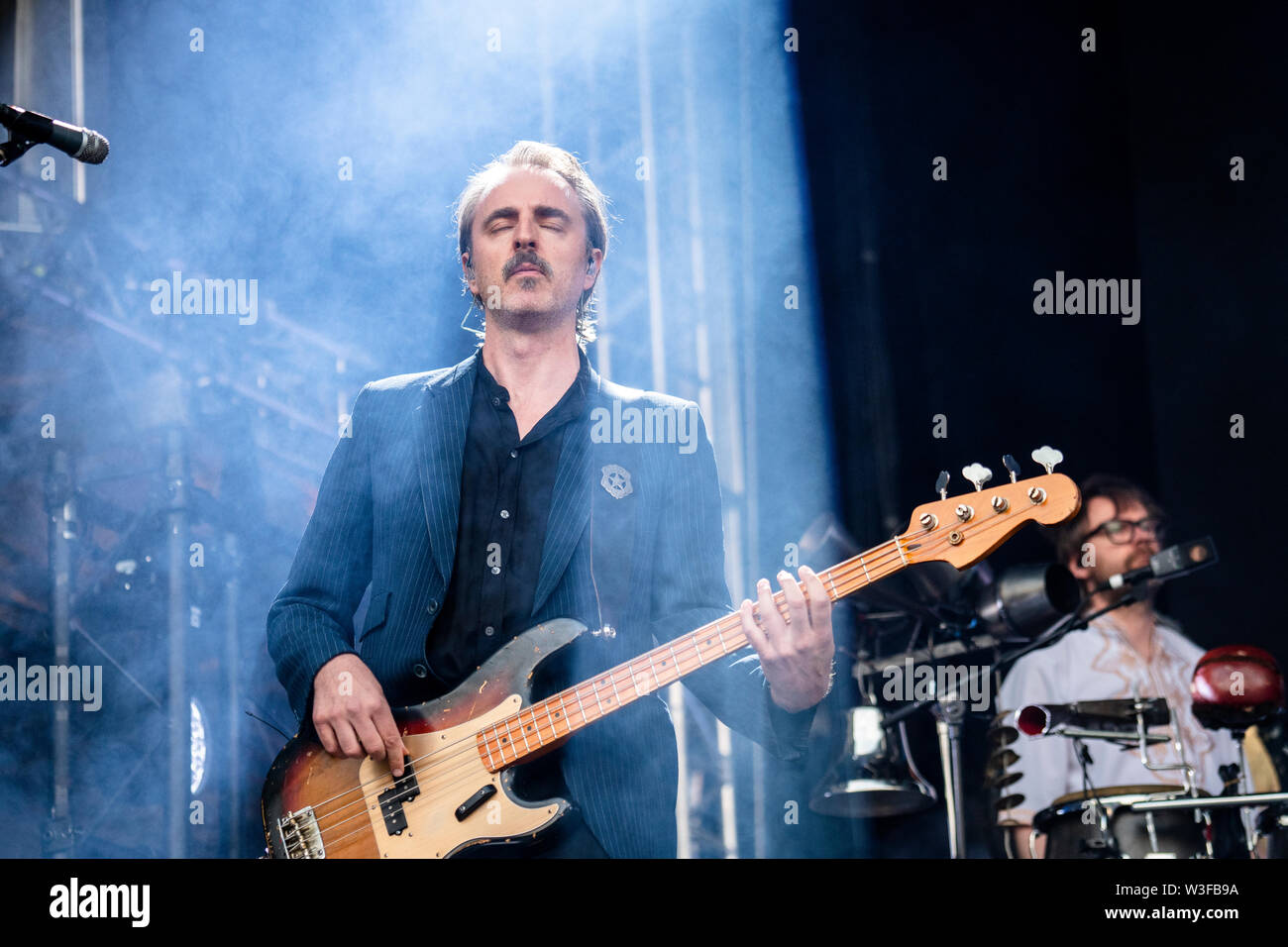 Bergen, Norway - June 13th, 2019. The Norwegian rock Madrugada performs a live concert during the Norwegian music festival Bergenfest 2019 in Bergen. Here bass player Frode Jacobsen is seen live on stage. (Photo credit: Gonzales Photo - Jarle H. Moe). - Stock Image