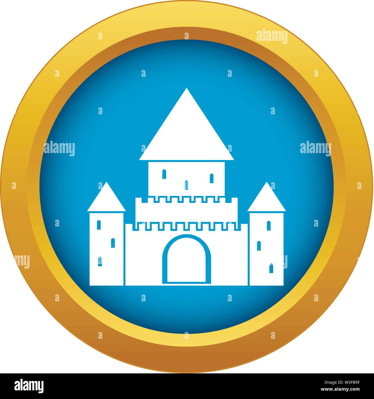 Chillon Castle, Switzerland icon blue vector isolated - Stock Vector
