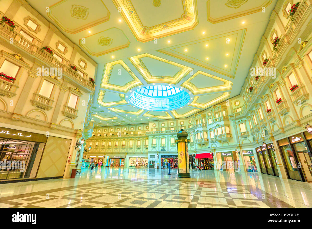 Doha, Qatar - February 21, 2019: luxury brands, expensive stores and exclusive shops in Doha shopping mall. Villaggio Mall, is a shopping center in As - Stock Image