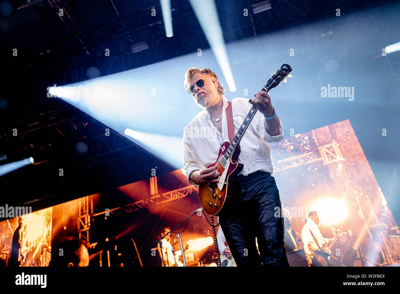Bergen, Norway - June 13th, 2019. The Norwegian rock Madrugada performs a live concert during the Norwegian music festival Bergenfest 2019 in Bergen. Here guitarist Cato Thomassen is seen live on stage. (Photo credit: Gonzales Photo - Jarle H. Moe). - Stock Image