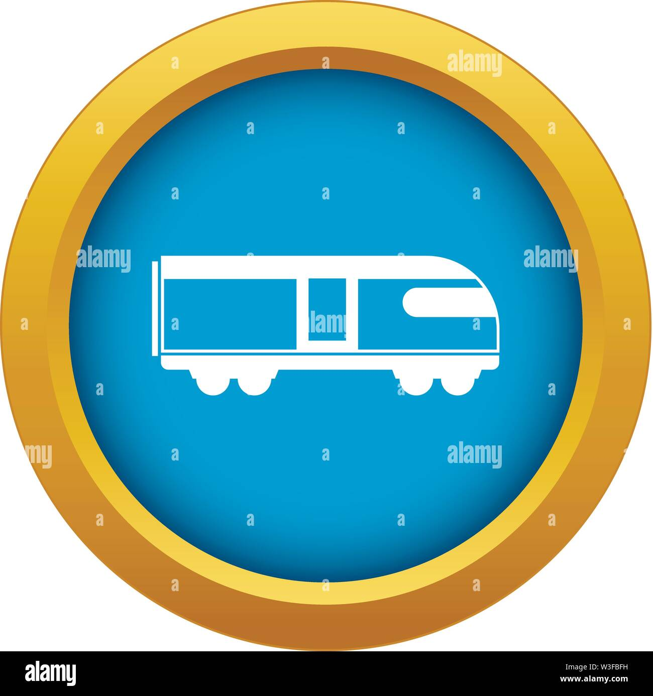 Swiss mountain train icon blue vector isolated - Stock Image