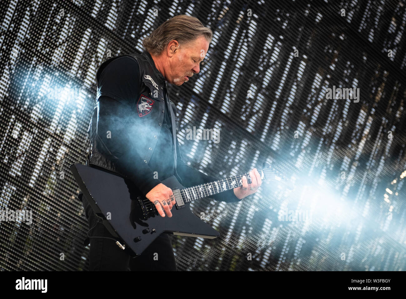 Trondheim, Norway - July 13th, 2019. The American heavy metal band Metallica performs live concerts at Granåsen Arena in Trondheim. Here vocalist and guitarist James Hetfield is seen live on stage. (Photo credit: Gonzales Photo - Tor Atle Kleven). - Stock Image