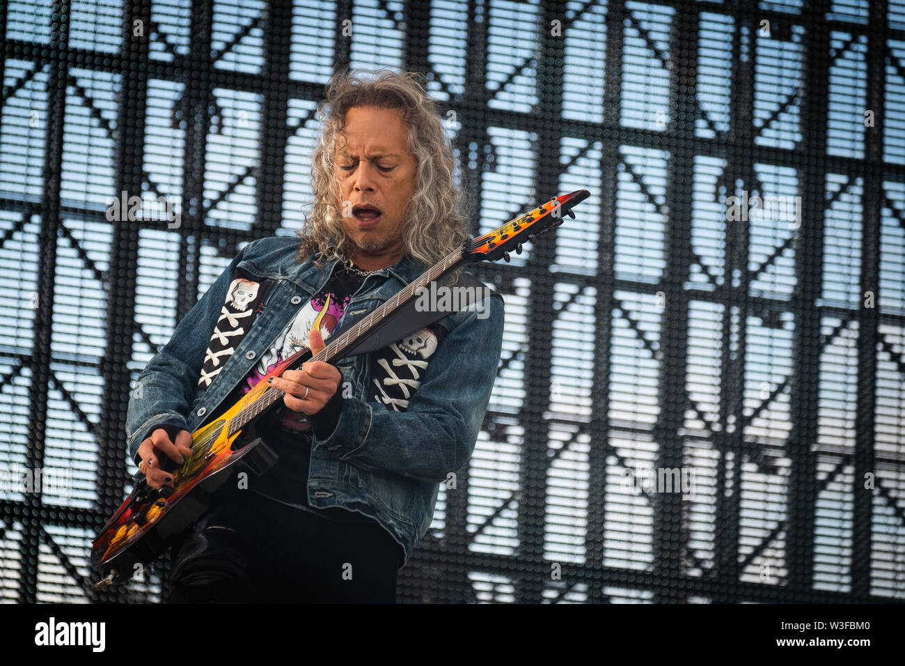 Trondheim, Norway - July 13th, 2019. The American heavy metal band Metallica performs live concerts at Granåsen Arena in Trondheim. Here guitarist Kirk Hammett is seen live on stage. (Photo credit: Gonzales Photo - Tor Atle Kleven). - Stock Image
