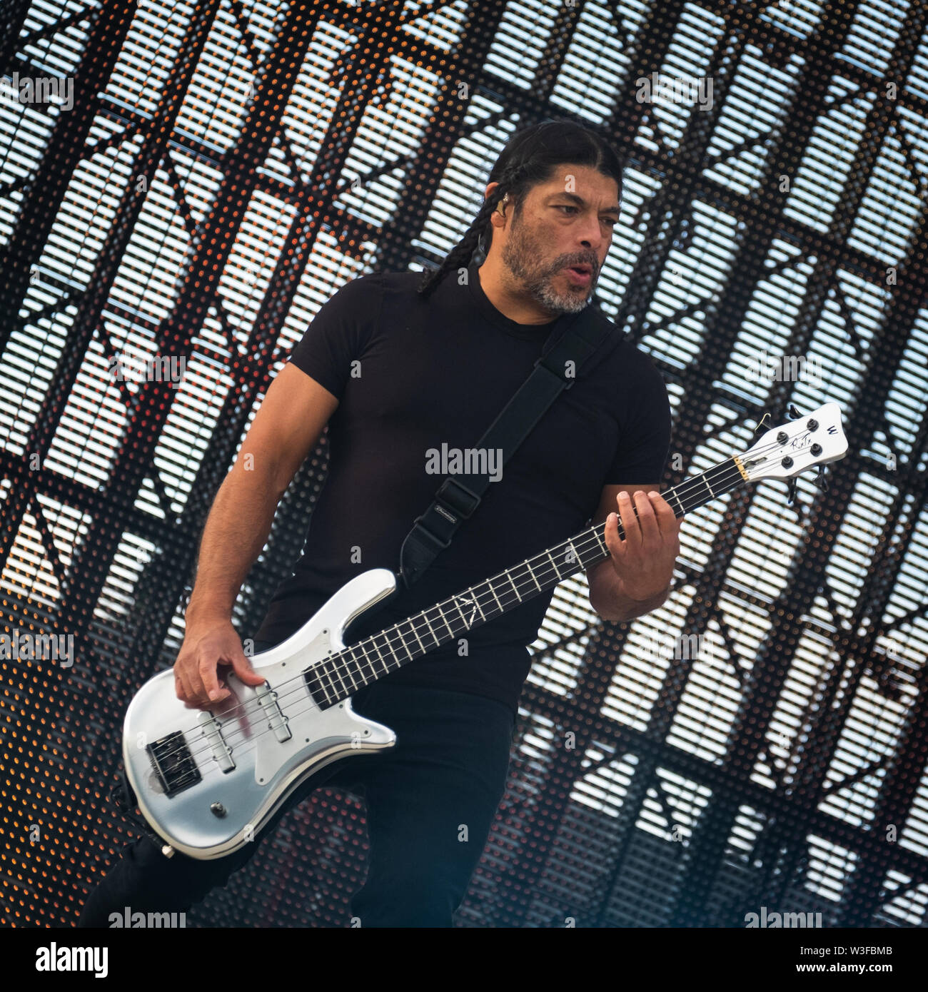 Trondheim, Norway - July 13th, 2019. The American heavy metal band Metallica performs live concerts at Granåsen Arena in Trondheim. Here bass player Robert Trujillo is seen live on stage. (Photo credit: Gonzales Photo - Tor Atle Kleven). - Stock Image