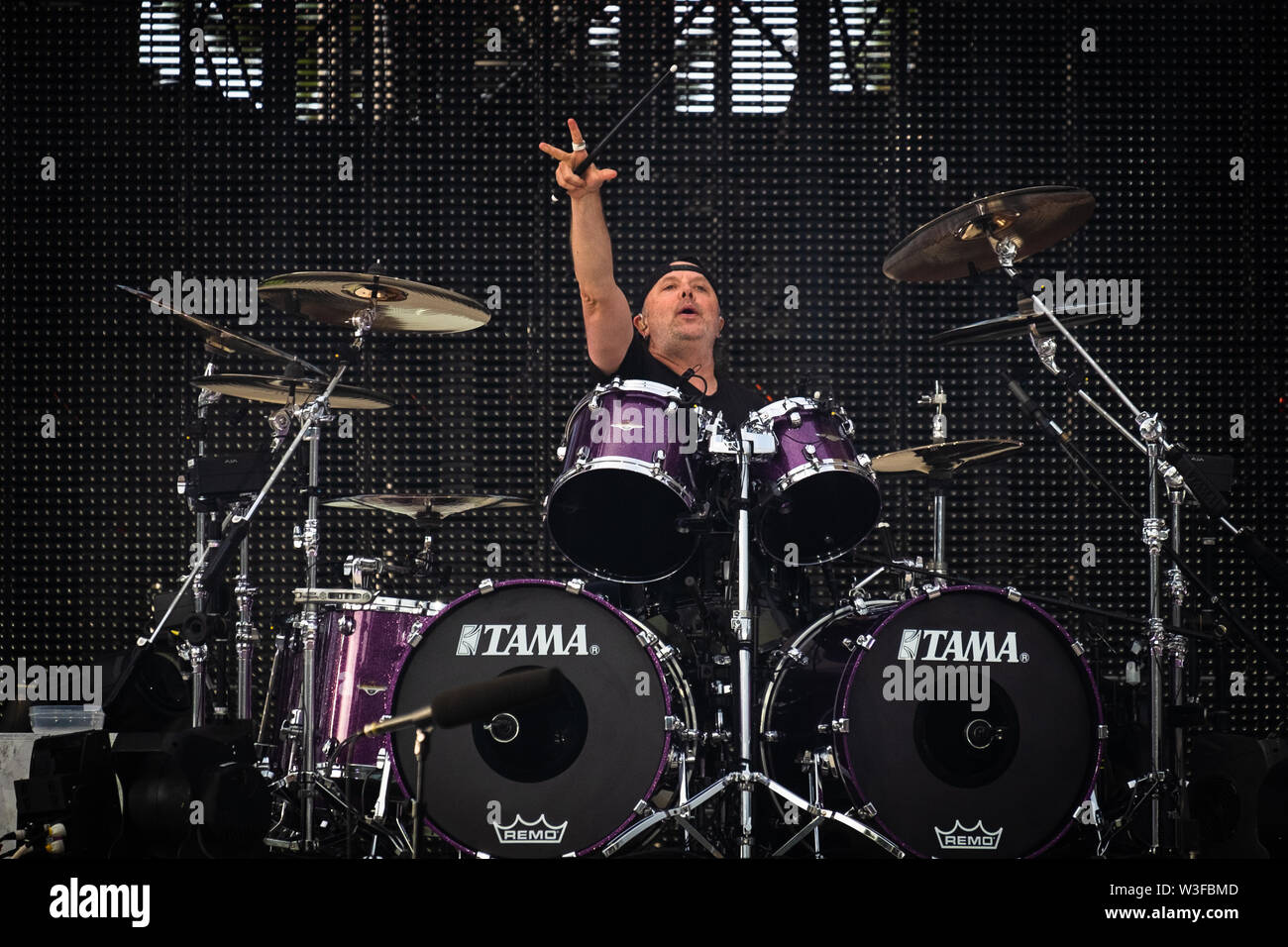 Trondheim, Norway - July 13th, 2019. The American heavy metal band Metallica performs live concerts at Granåsen Arena in Trondheim. Here drummer Lars Ulrich is seen live on stage. (Photo credit: Gonzales Photo - Tor Atle Kleven). - Stock Image