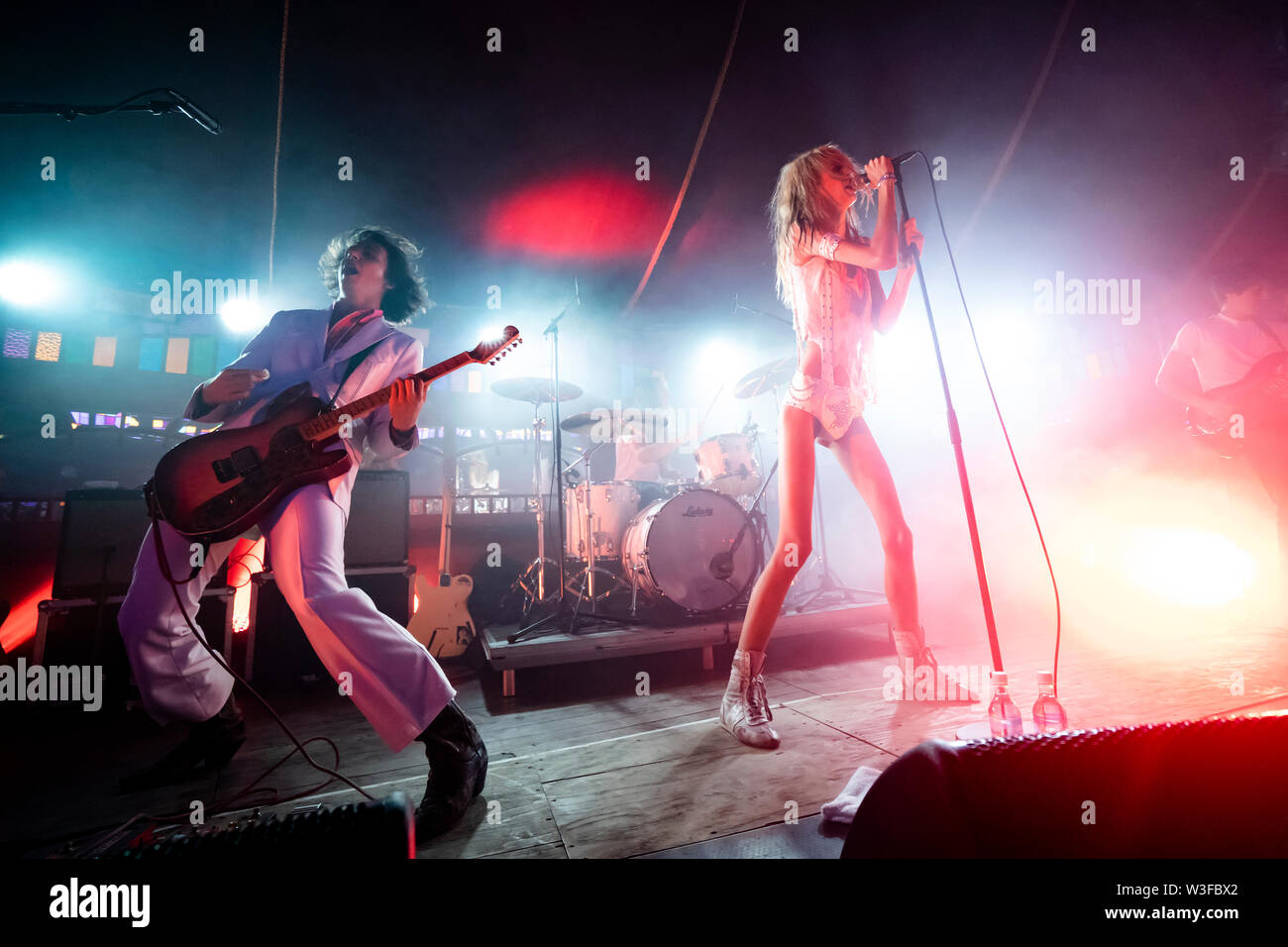 Bergen, Norway - June 15th, 2019. The American punk band Starcrawler performs a live concert during the Norwegian music festival Bergenfest 2019 in Bergen. Here vocalist Arrow de Wilde is seen live on stage with guitarist Henri Cash. (Photo credit: Gonzales Photo - Jarle H. Moe). - Stock Image
