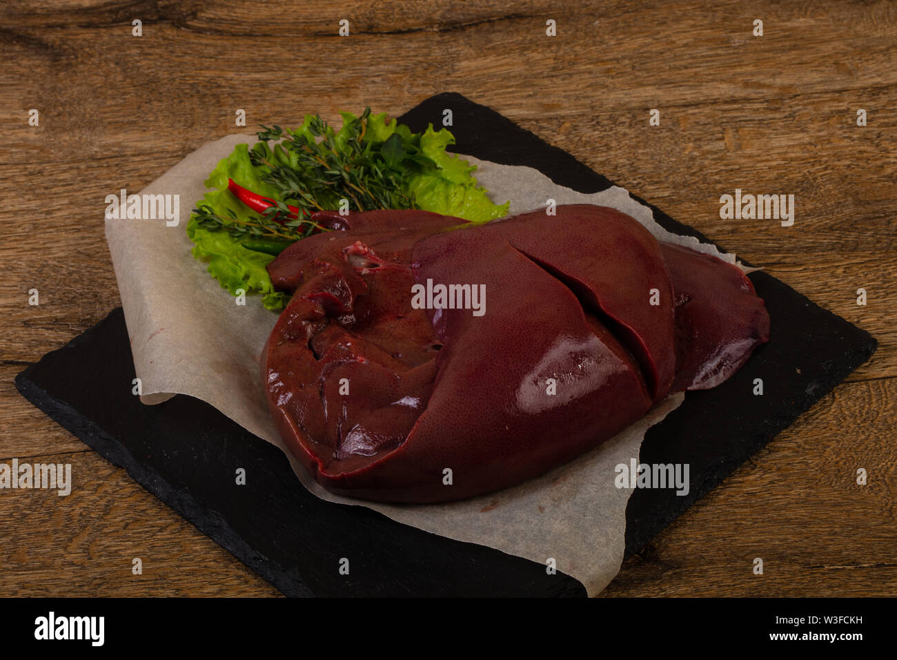 Raw pork Liver ready for cooking - Stock Image