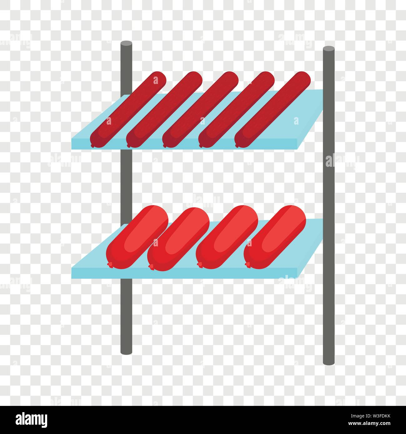 Shelves with sausages icon, cartoon style - Stock Image