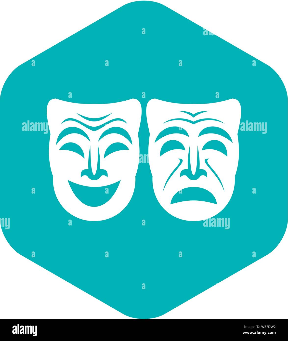 Happy and sad mask icon, simple style - Stock Image