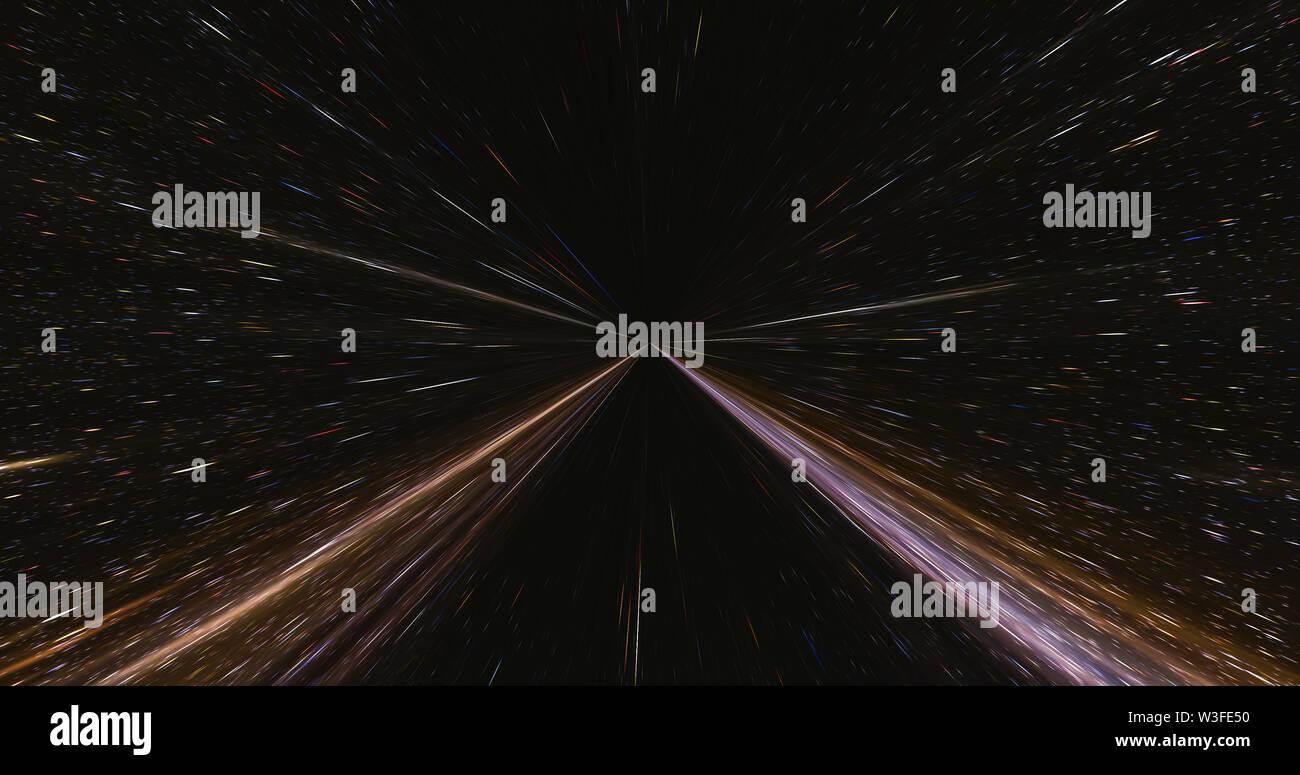 converging light trails light speed travel - Stock Image