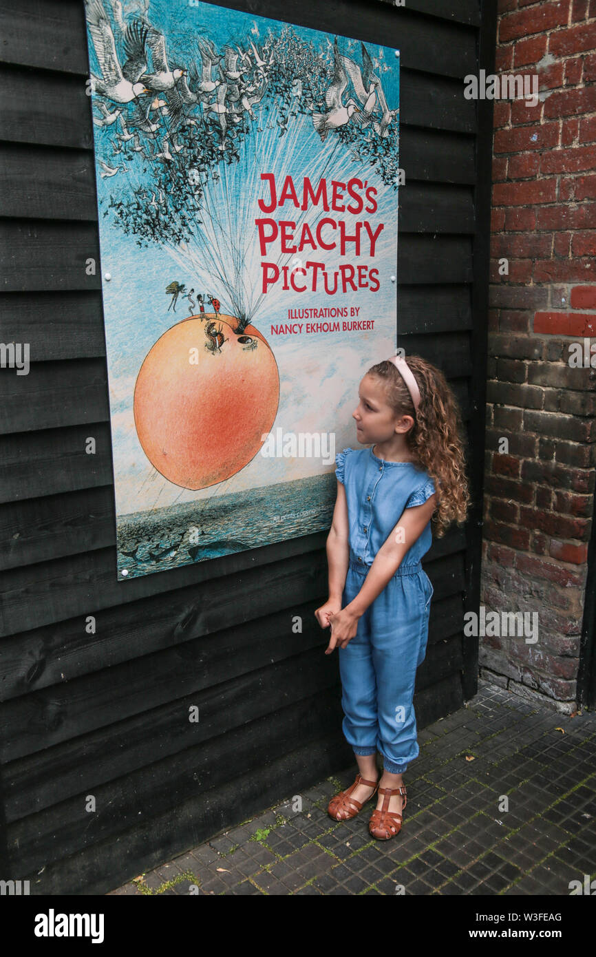Great Missenden, Buckinghamshire UK 15 July 2019Most of us associate the drawings of Sir Quentin Blake with Roald Dahl,however his very first book for children,James and the Giant Peach(1961) featured illustrations by renowned American artist and illustrator Nancy Ekholm Burkert. This summer the Roald Dahl Museum and Story Centre will be stepping back almost 60 years with a multi-sensory exhibition that explores, for the very first time, how these two creative minds worked together to create a classic (opens 20 July – end of September). Credit: Paul Quezada-Neiman/Alamy Live News - Stock Image