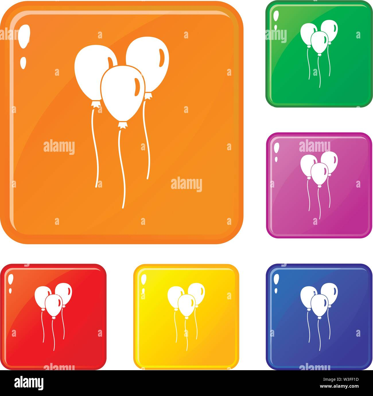 Balloons icons set vector color - Stock Image