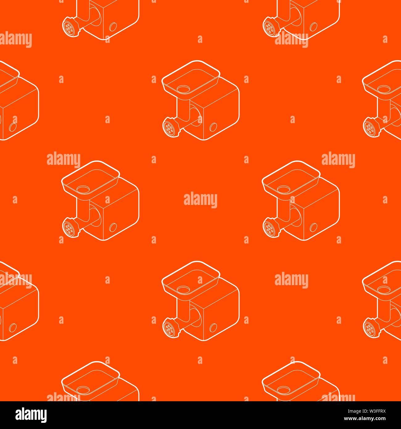Electric meat grinder pattern vector orange - Stock Image