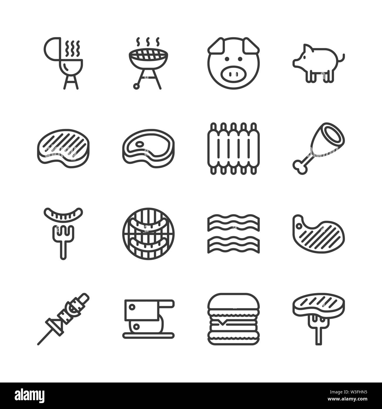 Pork related icon set.Vector illustration - Stock Image