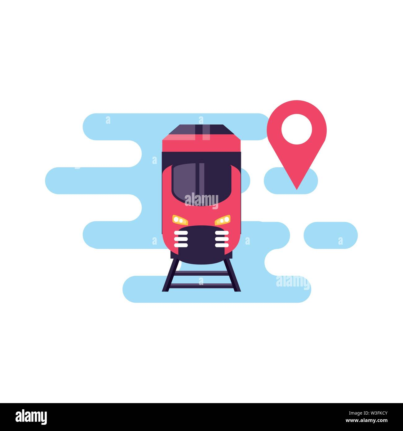 train travel vehicle with pin location vector illustration design - Stock Image