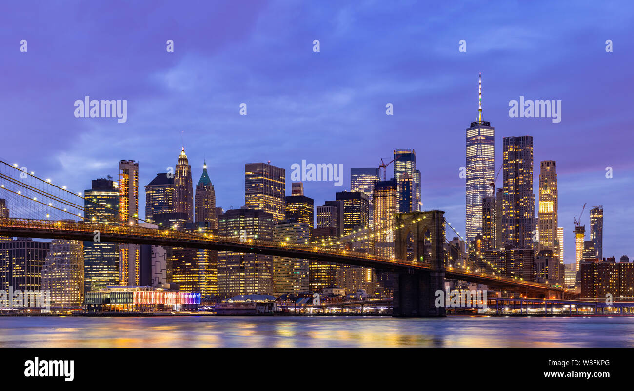 Panorama Brooklyn bridge with Lower Manhattan skyscrapers bulding for New York City in New York State NY , USA - Stock Image