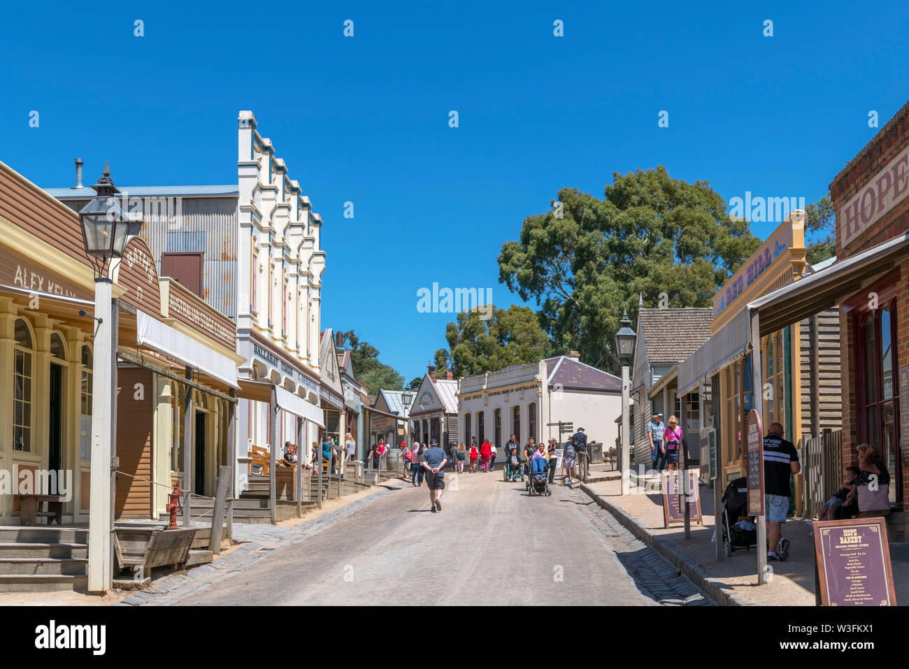 Main Street in Sovereign Hill, an open air museum in the old gold mining town of Ballarat, Victoria, Australia - Stock Image