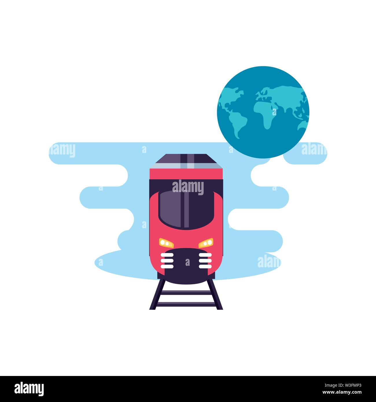 train travel vehicle with world planet vector illustration design - Stock Image
