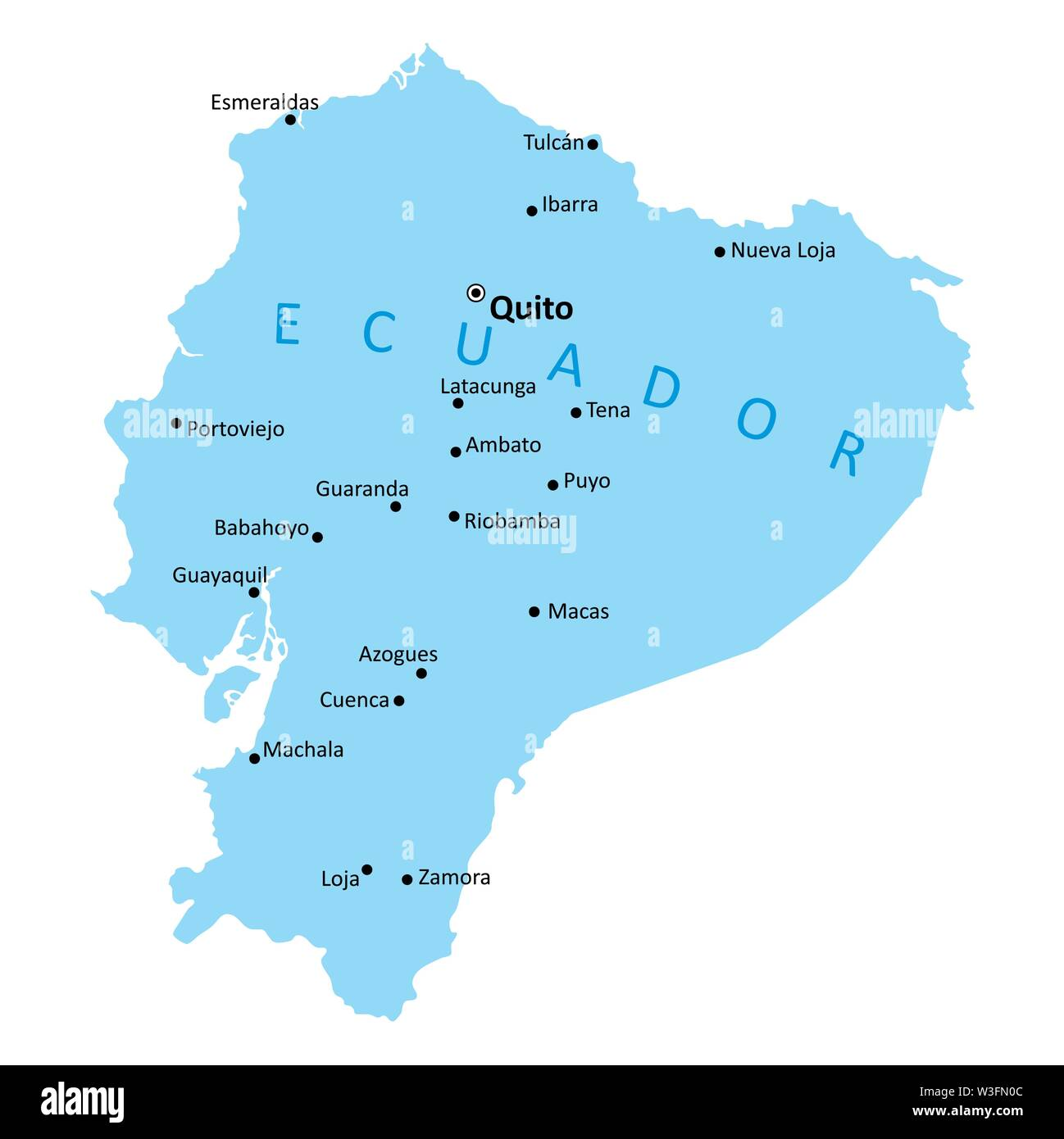 Ecuador isolated map with the main cities - Stock Vector