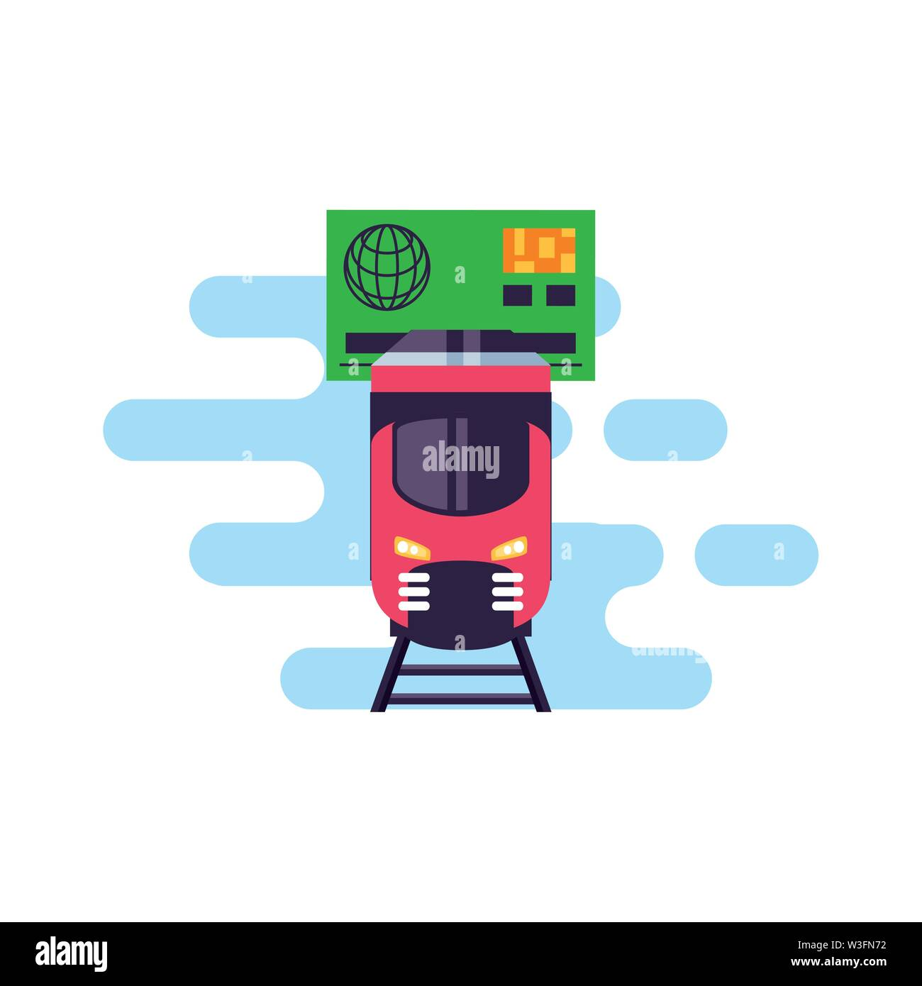 train travel vehicle with credit card vector illustration design - Stock Image