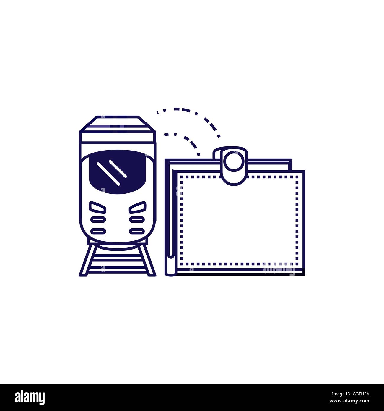 train travel vehicle with wallet vector illustration design - Stock Image