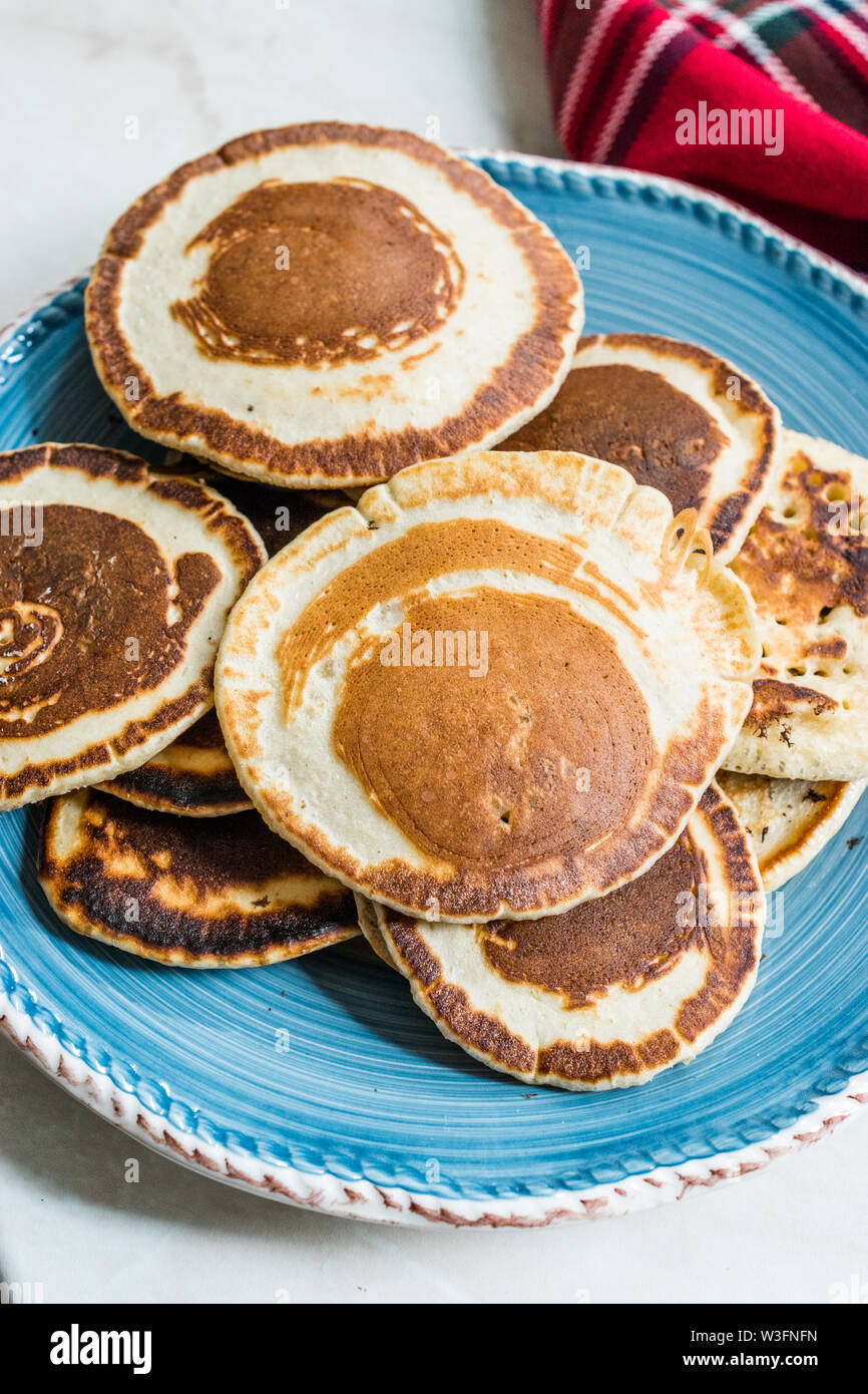 Stack of Plain Pancakes in Plate for Breakfast. - Stock Image