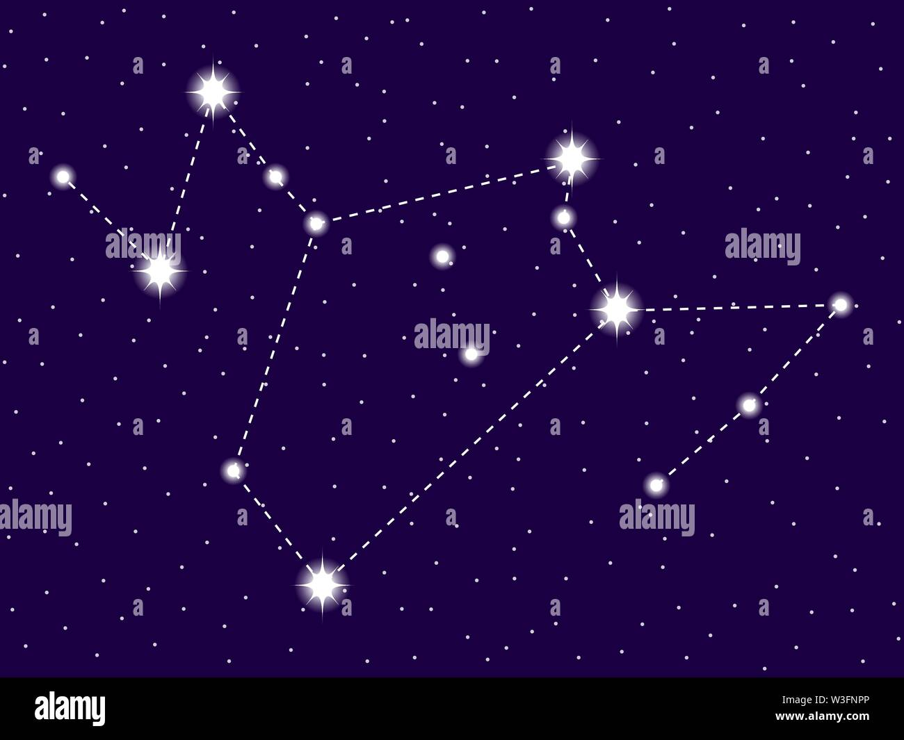 Phoenix constellation . Starry night sky. Zodiac sign. Cluster of stars and galaxies. Deep space. Vector illustration - Stock Vector