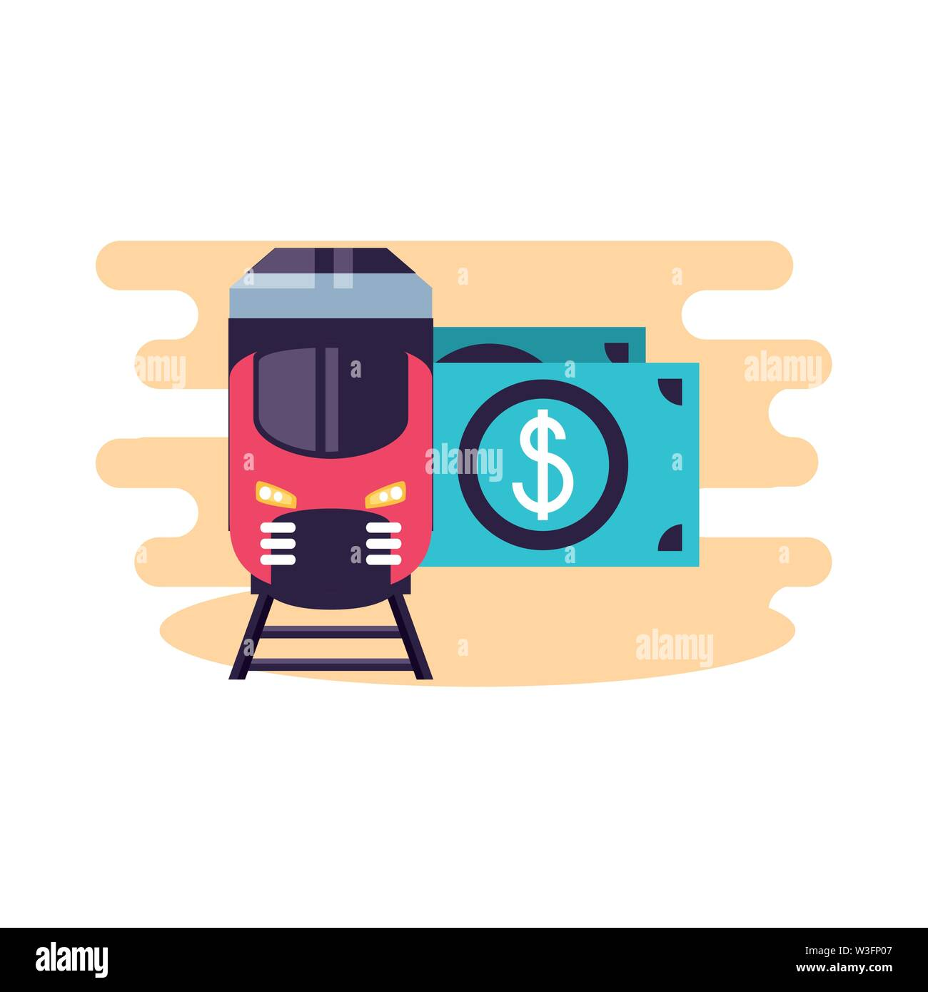 train travel vehicle with bills dollars vector illustration design - Stock Image