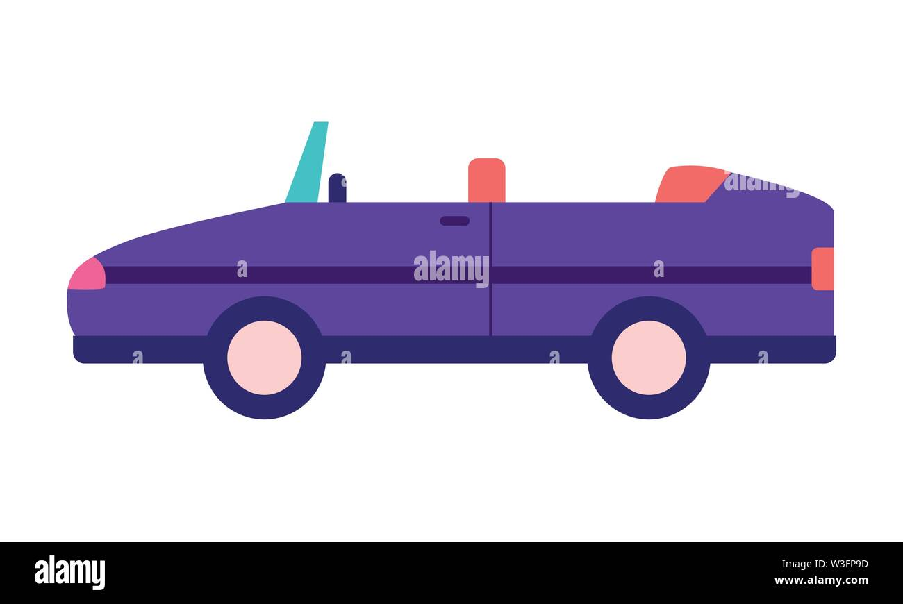 sport convertible car vehicle transport white background vector illustration - Stock Image