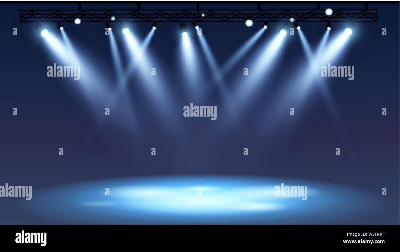 Spotlights empty scene. Illuminated design. Vector illustration - Stock Image