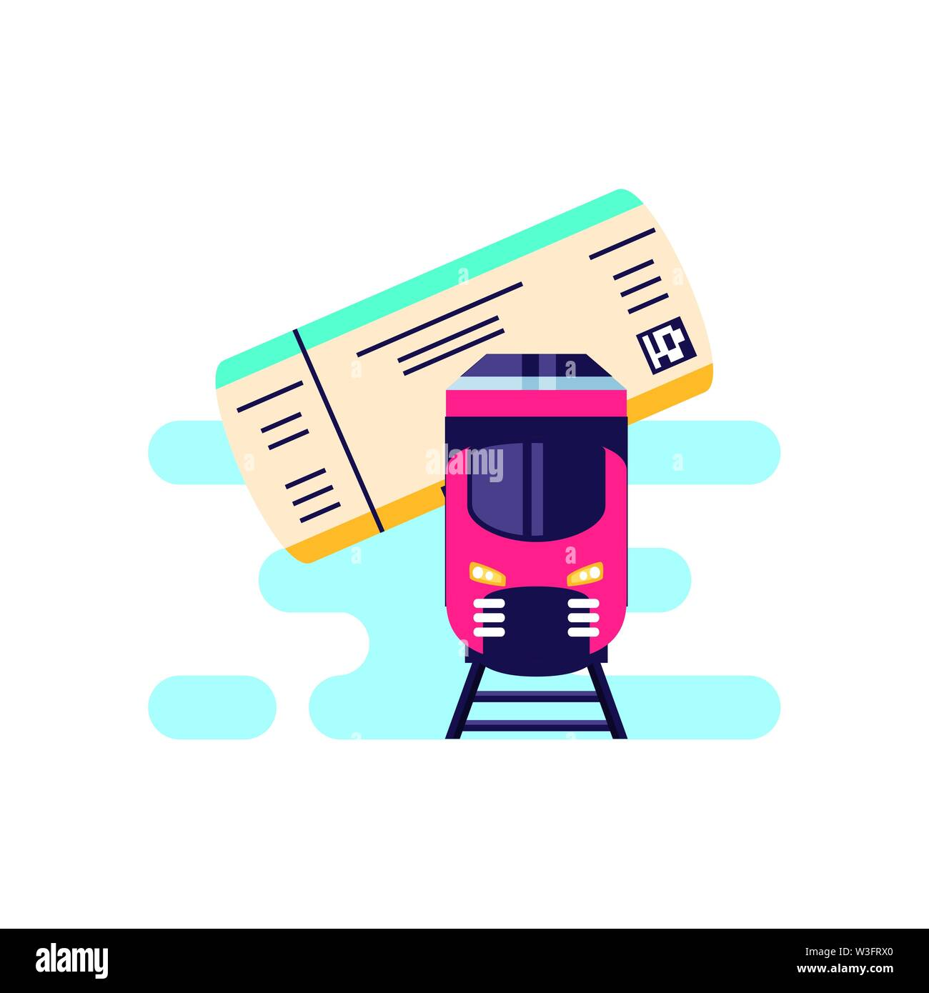 train travel vehicle with ticket paper vector illustration design - Stock Image