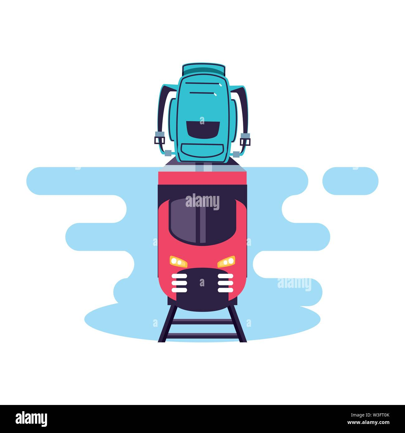 train travel vehicle with travelbag vector illustration design - Stock Image