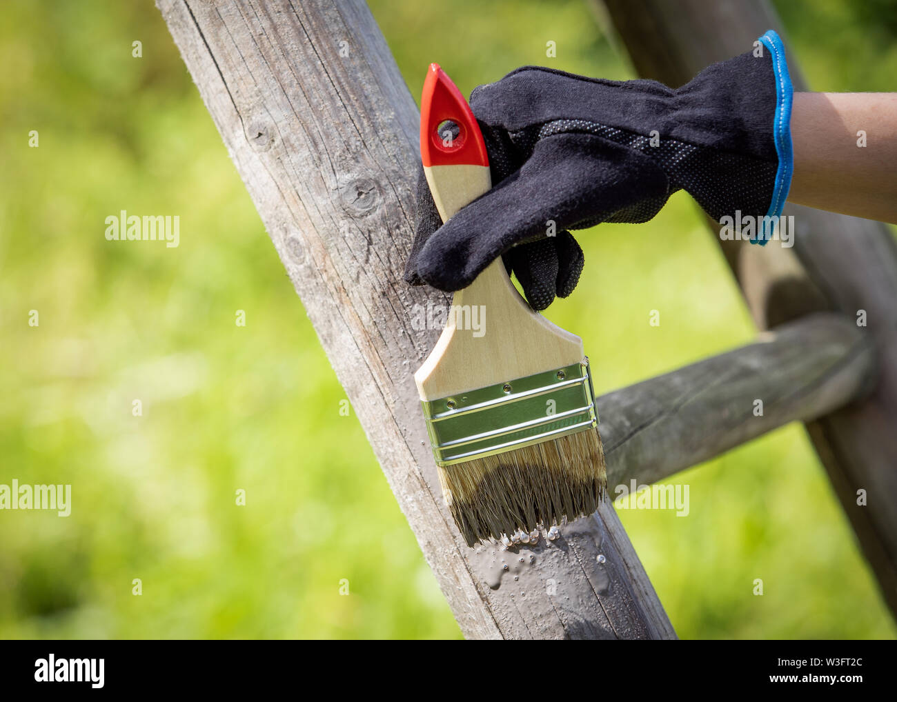 Hand with glove holding brush and painting on the surfaces with fresh protective paint - Stock Image