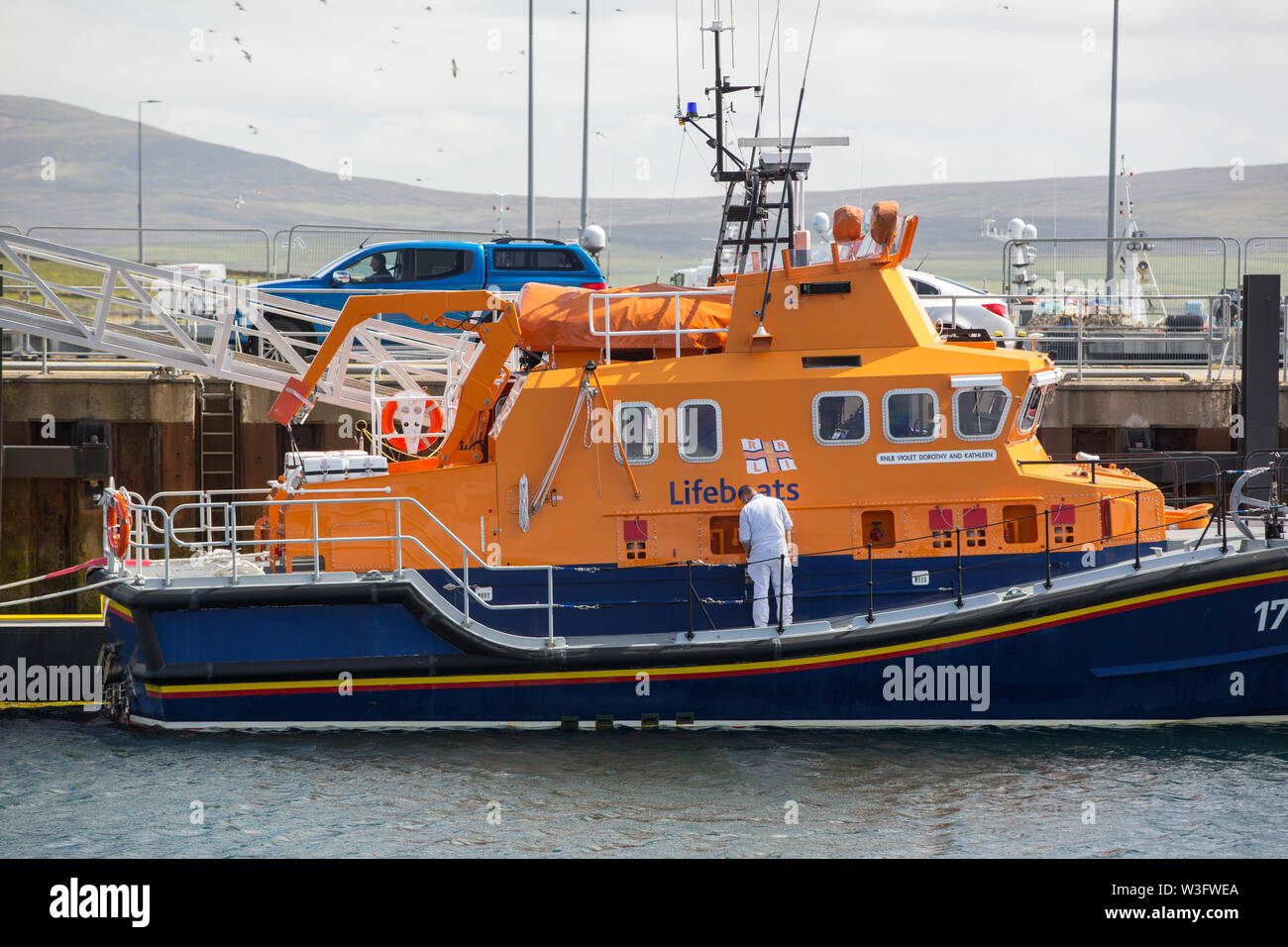 The stromness lifeboat in Stromness harbour, Orkney, Scotland, UK. - Stock Image