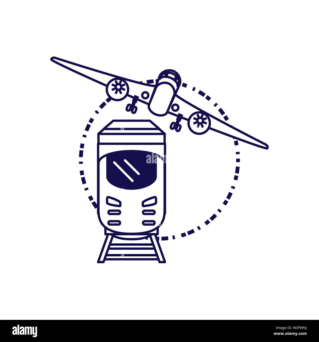 train travel vehicle with airplane vector illustration design - Stock Image