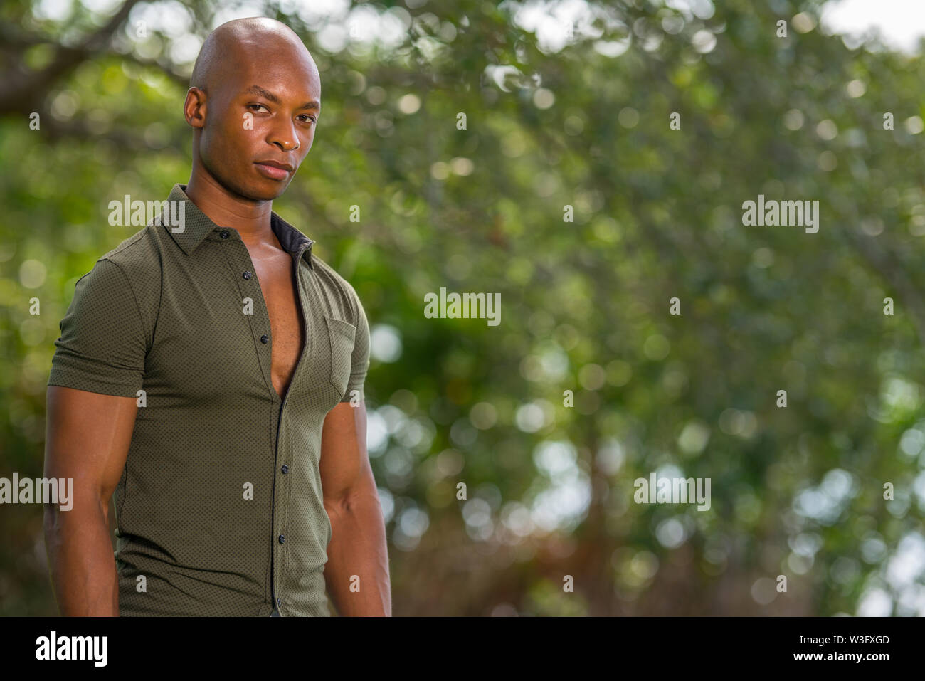Portrait of a handsome 30 year old black man posing with shoulder towards the camera - Stock Image