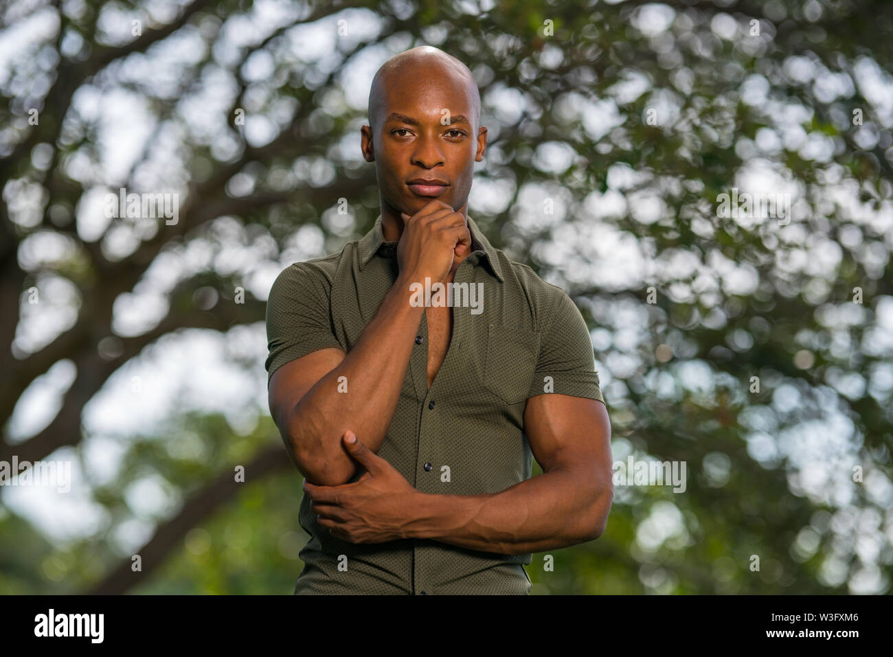 Handsome young African American man posing with hand on chin in a nature scene - Stock Image