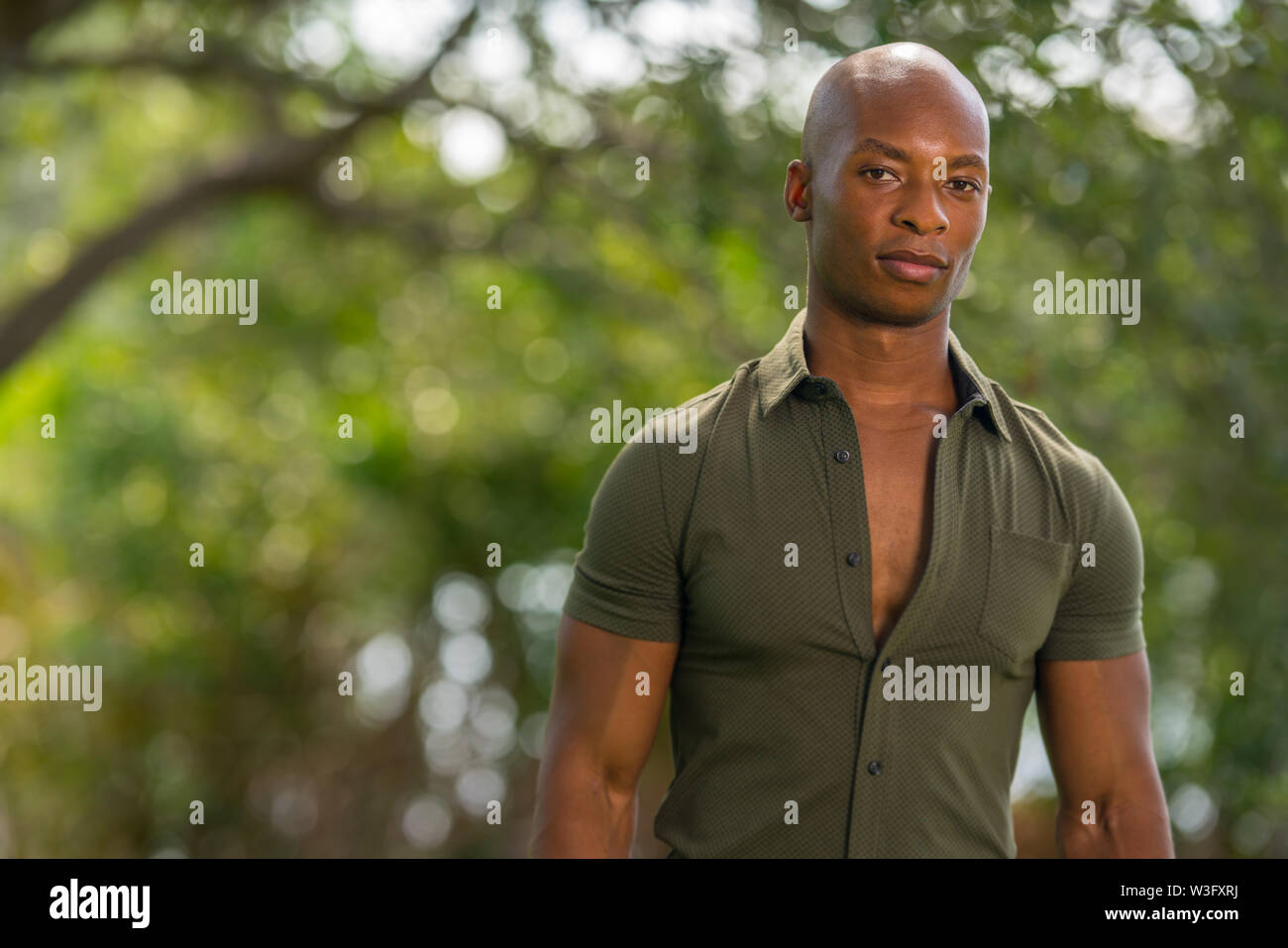 Portrait of a young macho African American male model posing outdoors in nature setting - Stock Image
