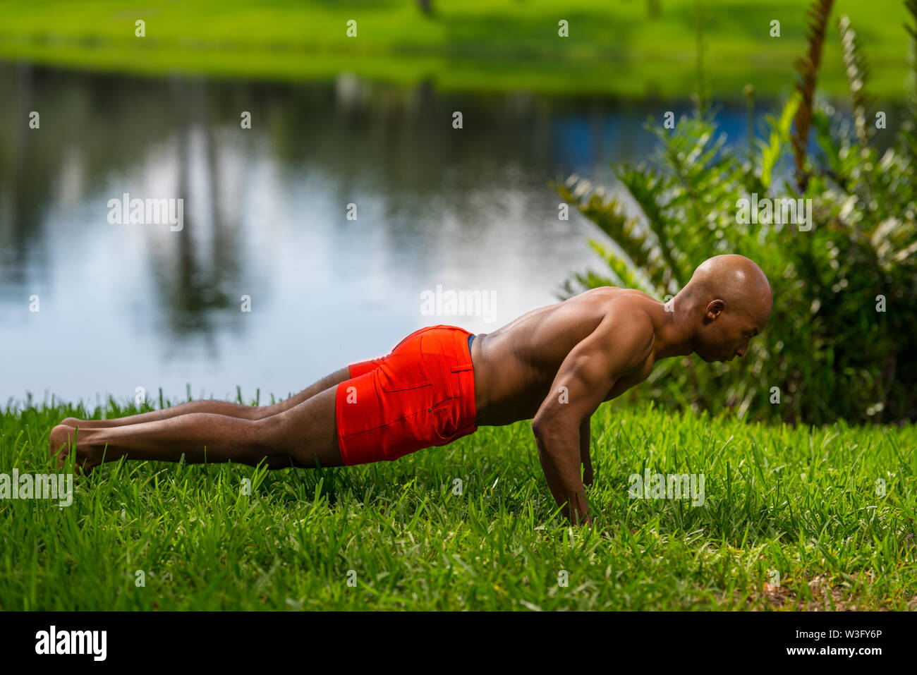Photo of a fitness model posing plank on the grass. Image lit with off camera flash and natural lighting - Stock Image