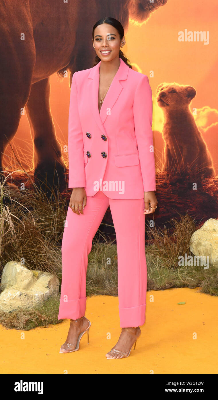 London, UK.  Rochelle Humes at the European Premiere of The Lion King held at Odeon Leicester Square, London on Sunday 14 July 2019    Ref: LMK392-J5174-150719 Vivienne Vincent/Landmark Media.  . - Stock Image