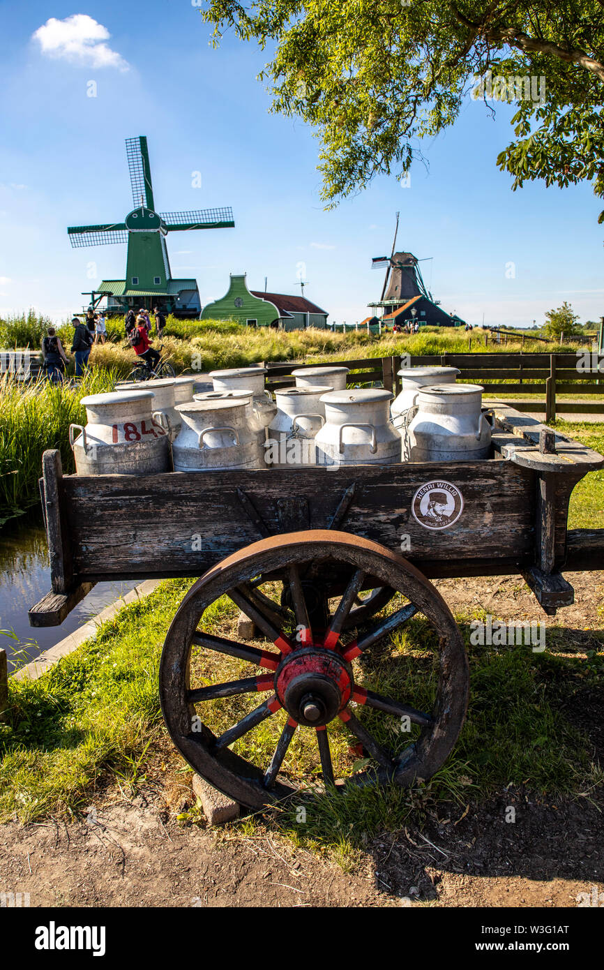 Zaanse Schans, Netherlands, historic village, open-air museum in North Holland, old windmills, workshops, farms, houses, milk cans, - Stock Image