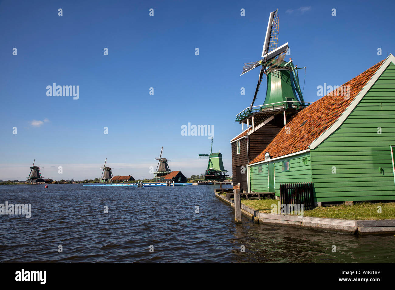 Zaanse Schans, Netherlands, historical village, open-air museum in North Holland, old windmills, workshops, farms, houses, - Stock Image