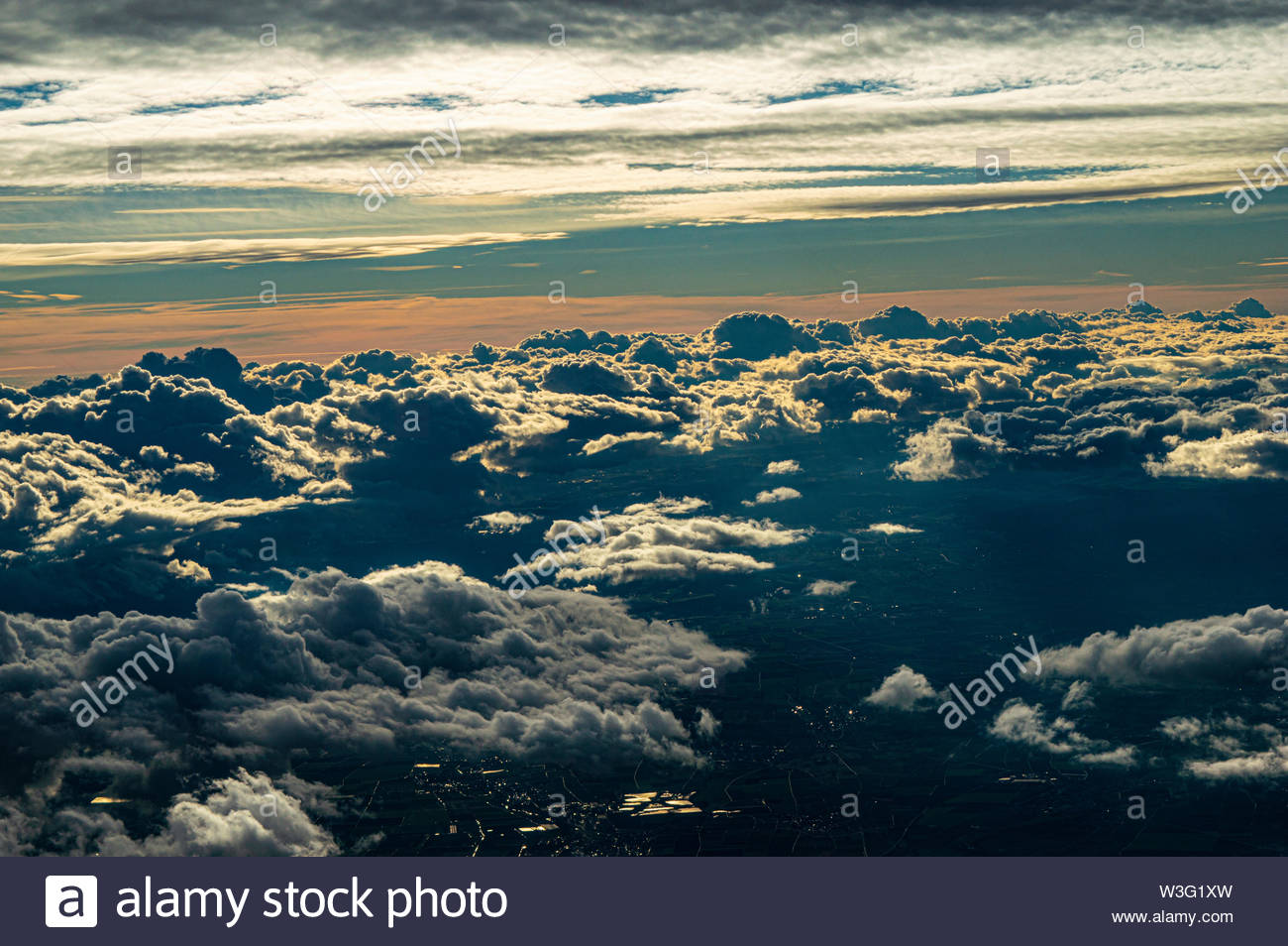 clouds water sky from the airplain on top of Venice - Stock Image