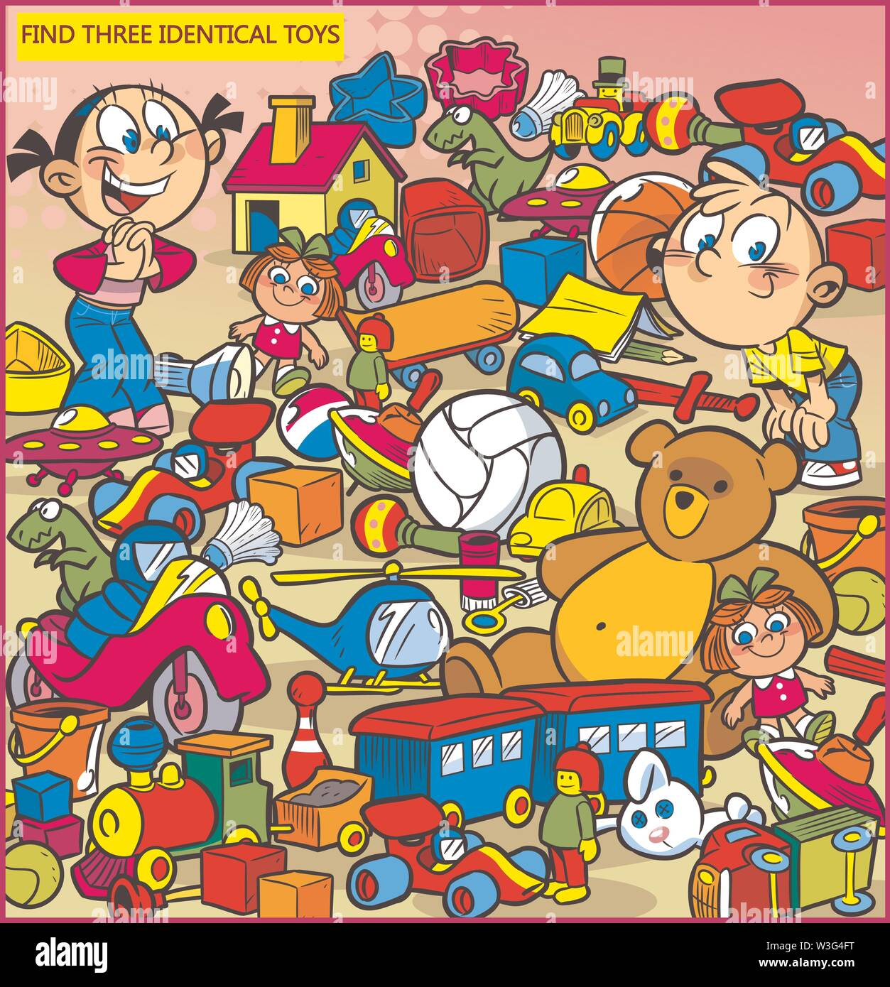Vector illustration with a puzzle in that it is necessary to find three identical toys - Stock Image